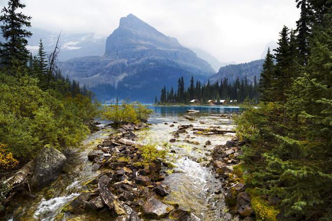 Vista panorámica del Lago OHara, Parque Nacional Yoho, Columbia Británica, Canadá - foto de stock