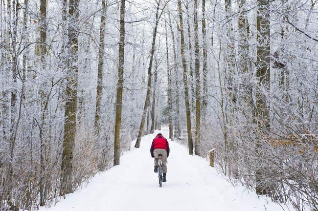 Mountain bike rider on a snowy winter trail ride — Stock Photo