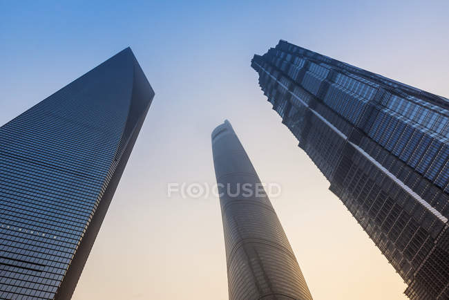 Pudong landmarks and towers ; Shanghai, China — Stock Photo