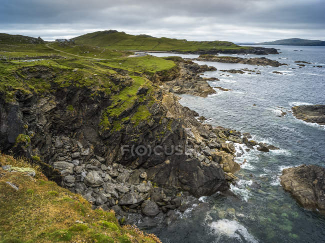 Vue panoramique sur l'île d'Achill, Achill Sound, Wild Atlantic Way, comté de Mayo, Irlande — Photo de stock
