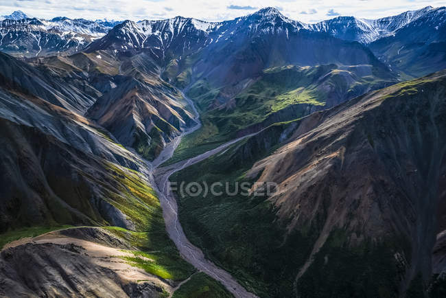 Le montagne del Kluane National Park and Reserve viste da una prospettiva aerea; Haines Junction, Yukon, Canada — Foto stock