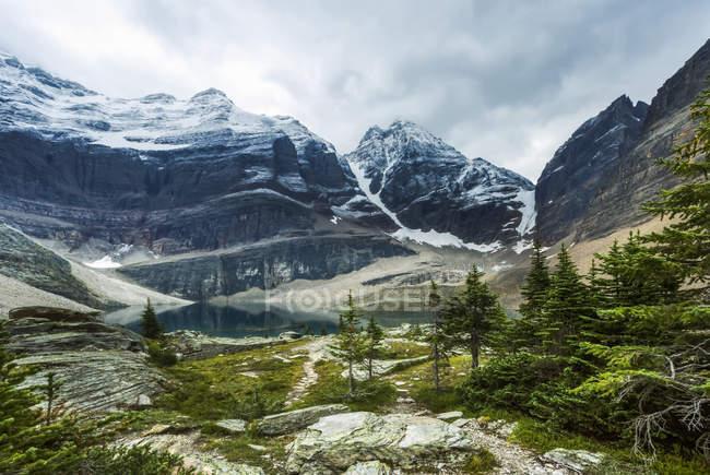 Escursioni dentro e fuori il lago Oesa dal lago O'Hara, Yoho National Park; British Columbia, Canada — Foto stock