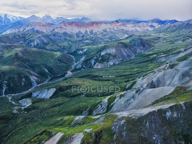 The mountains of Kluane National Park and Reserve seen from an aerial perspective; Haines Junction, Yukon, Canada — Stock Photo