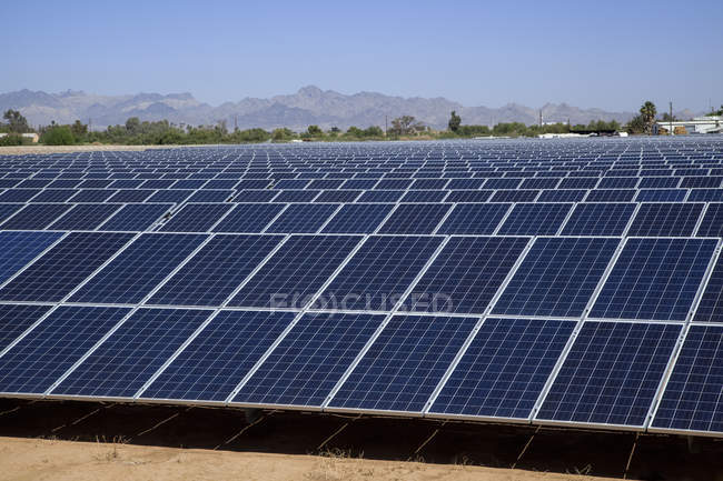High angle view of solar panels in an industry — Stock Photo