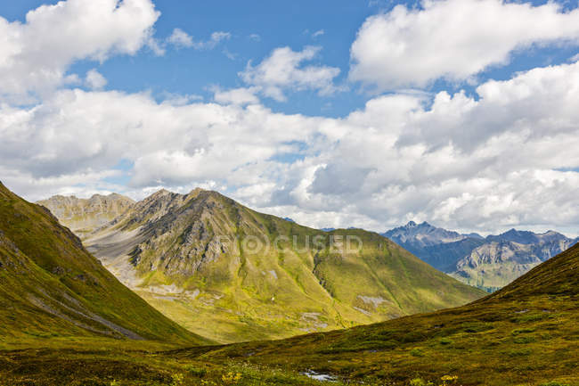 Montanhas cobertas de tundra verde em um dia ensolarado no Hatcher Pass, centro-sul do Alasca; Palmer, Alasca, Estados Unidos da América — Fotografia de Stock