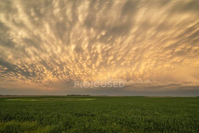 Dramatic sky over the landscape during storm in the midwest of the United States; Kansas, United States of America — Stock Photo