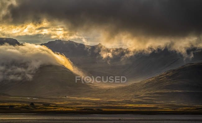Beautiful sunset light over the East Fjords of Iceland — Stock Photo
