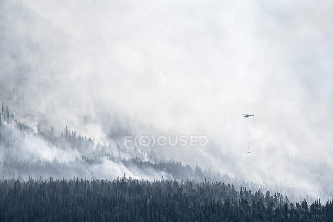 Helicopter water bombing a forest fire, Carcross, Yukon, Canada — Stock Photo