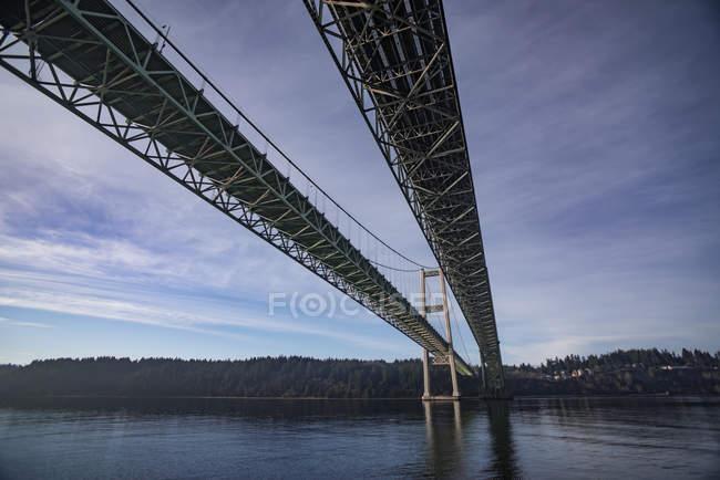 Vue panoramique du pont du passage de Tacoma ; Tacoma, Washington (États-Unis d'Amérique) — Photo de stock