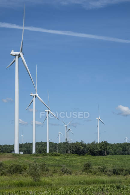 Wind turbines in Northern New York; Lowville, New York, United States of America — Stock Photo