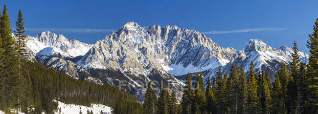 Panorama of a snow-covered mountain range with blue sky, Kananaskis Country, Alberta, Canada — Stock Photo