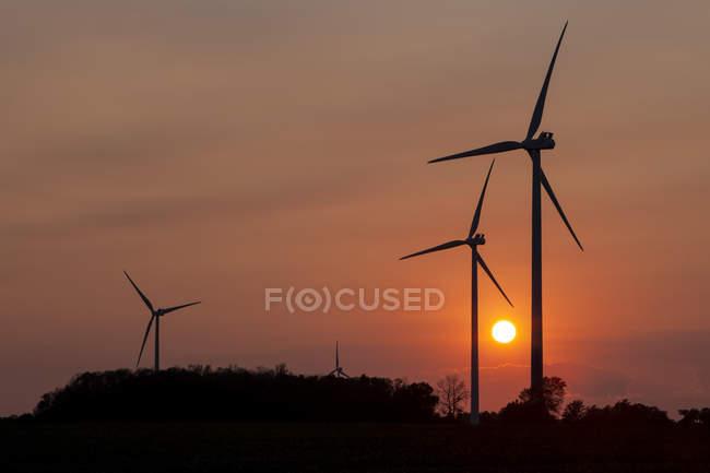 Turbinas eólicas ao pôr-do-sol; Nanticoke, Ontário, Canadá — Fotografia de Stock