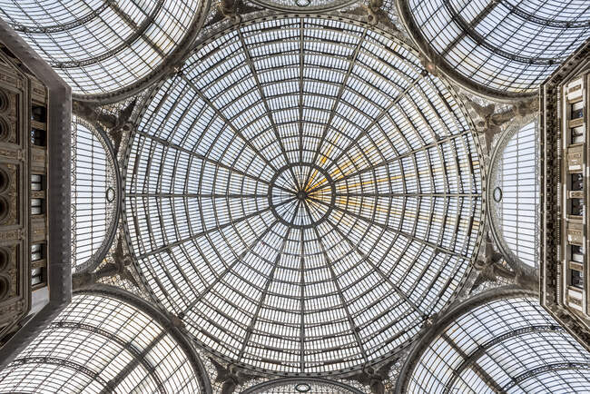 Ceiling of Galleria Umberto l, a public shopping gallery designed by Emanuele Rocco; Naples, Italy — Stock Photo