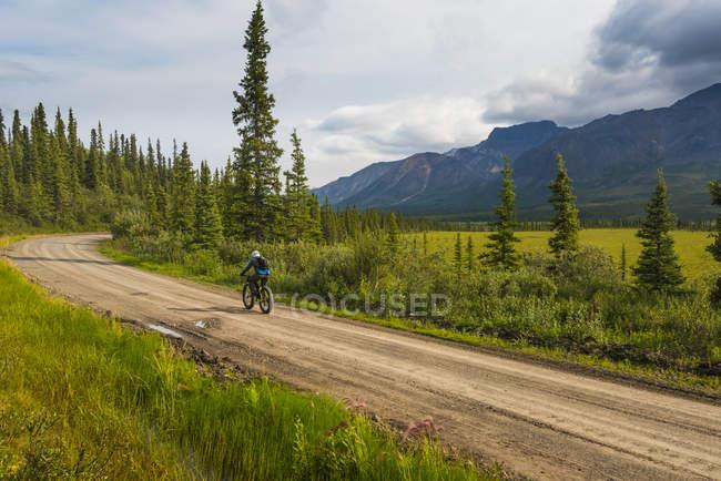 Uomo ciclismo grasso sulla Nabesna Road a Wrangell - St. Elias National Park e conservare in una nuvolosa giornata estiva nel centro-sud dell'Alaska, Stati Uniti d'America — Foto stock