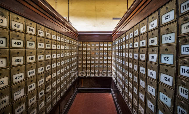 Mailboxes at the Central Post Office building, Asmara, Central Region, Eritrea — Stock Photo
