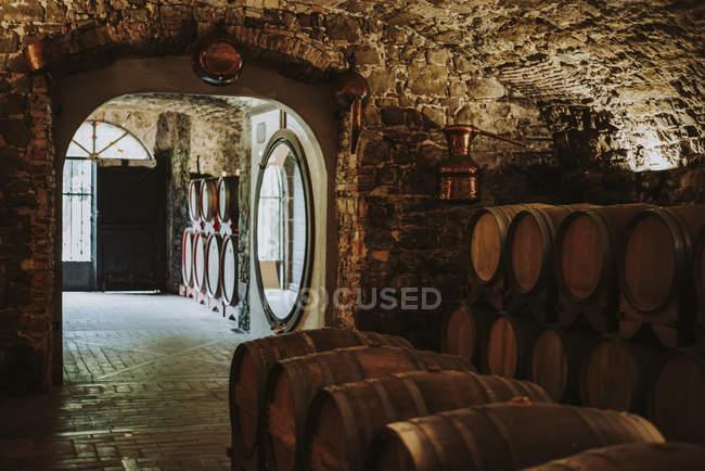 Barris de vinho na adega; Itália — Fotografia de Stock