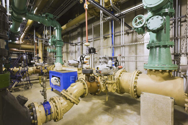 Indoors view of Pipeline in a water treatment plant — Stock Photo