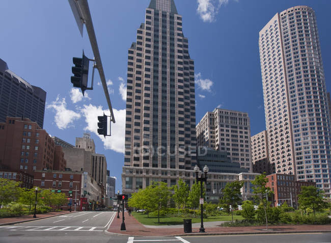 Low angle view of buildings in a city, Boston, Massachusetts, USA — Stock Photo