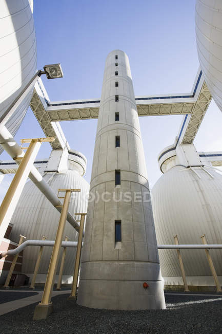 Digester tanks in a water treatment plant — Stock Photo