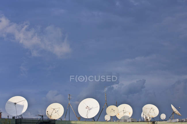 Clouds over satellite dishes, South Boston, Suffolk County, Massachusetts, USA — Stock Photo