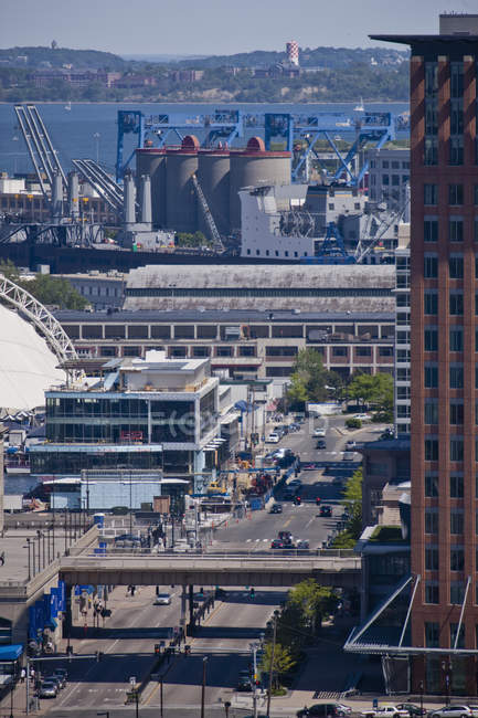 High angle view of an industrial district, Boston Harbor, Boston, Massachusetts, USA — Stock Photo
