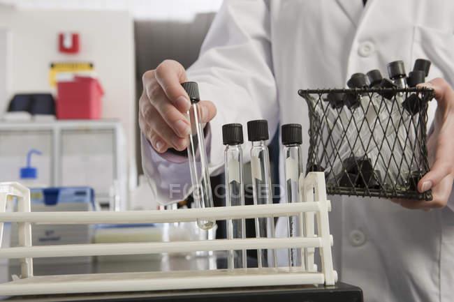 Zugeschnittenes Bild eines Wissenschaftlers, der Reagenzgläser in einem Gestell im Labor der Wasseraufbereitungsanlage arrangiert — Stockfoto