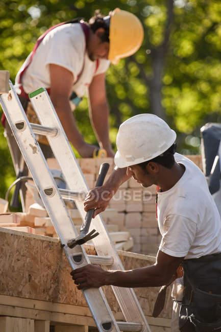Плотники закрепляют лестницу на строительной площадке — стоковое фото