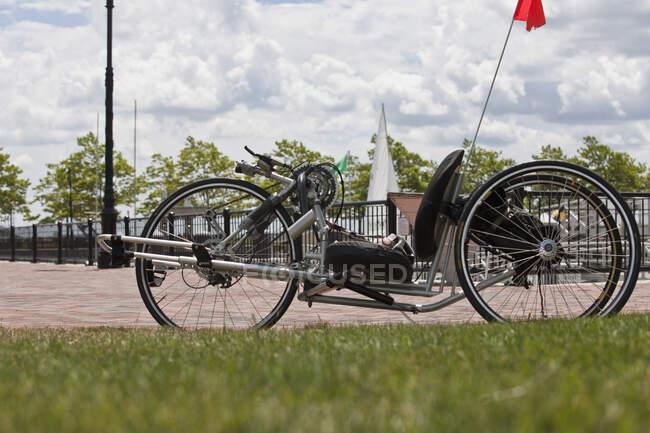 Порушення правил спортивного змагання з інвалідності в парку. — стокове фото