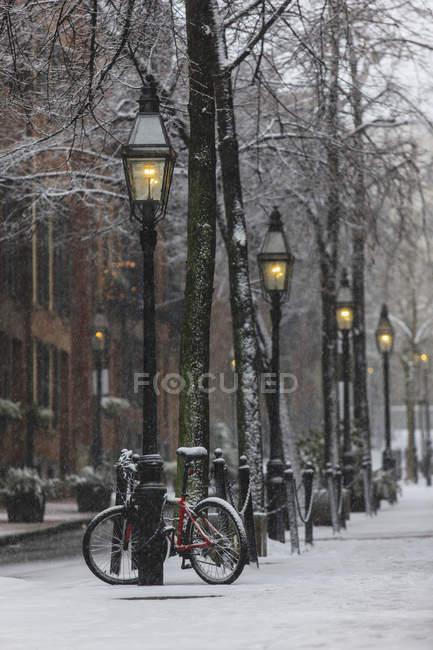 Somerset Street view after blizzard in Boston, Suffolk County, Massachusetts, USA — Stock Photo