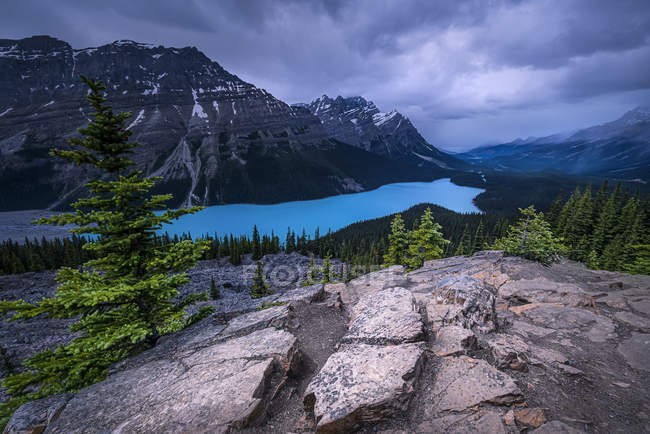 Clouds over Peyto Lake, Banff National Park; Alberta, Canada — Stock Photo