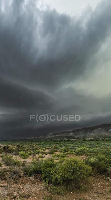 Dramatic dark storm clouds over scrubland; Marathon, Texas, Estados Unidos da América — Fotografia de Stock