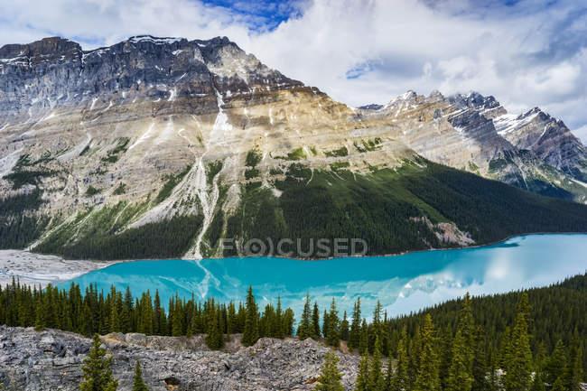 Vue panoramique sur les montagnes rocheuses accidentées ; District d'Amélioration No. 9, Alberta, Canada — Photo de stock