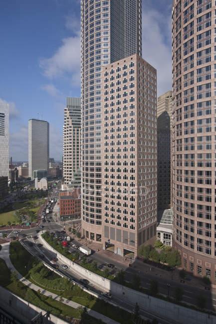 Edifici in una città, Rose Kennedy Greenway, Boston, Massachusetts, USA — Foto stock