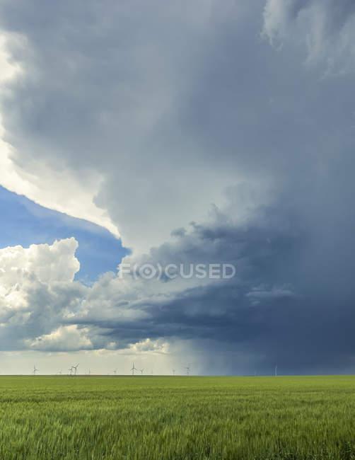 Штормові хмари формуються над сільським господарством з вітровою фермою і турбінами на відстані; Сполучені Штати Америки — стокове фото