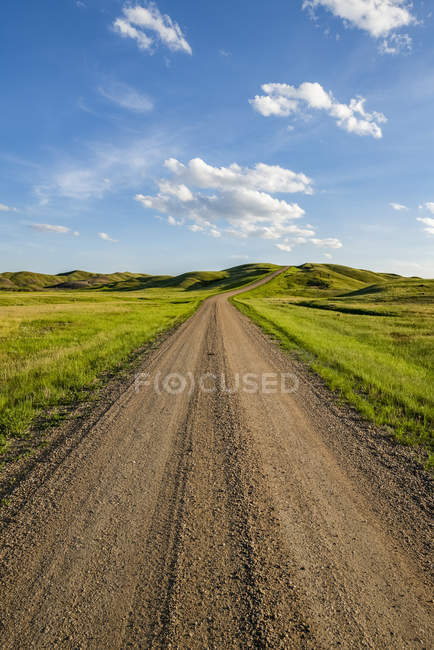 Gravel road leading into the distance, Grasslands National Park; Val Marie, Saskatchewan, Canada — Stock Photo
