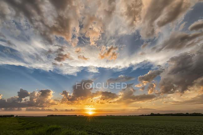 Закат и большое небо с облаками над полем сельхозугодий; Саскачеван, Канада — стоковое фото