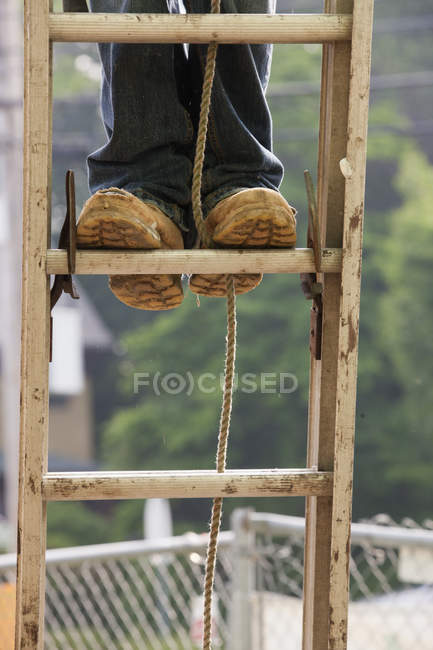 Carpenter standing on a ladder, cropped image — Stock Photo