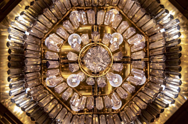 Detail of a chandelier from directly below; St. Gallen, St. Gallen, Switzerland — Stock Photo
