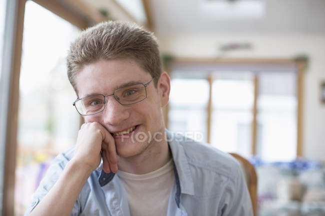 Portrait of Boy with Anxiety Disorder at home — Stock Photo