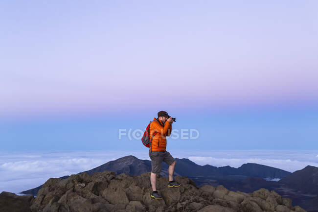 Fotografia turistica sulla cima di una montagna, Haleakala; Maui, Hawaii, Stati Uniti d'America — Foto stock