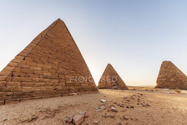 Field of Kushite royal pyramids, Mount Jebel Barkal; Karima, Northern State, Sudan — Stock Photo