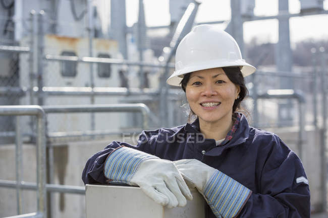 Portrait of female power engineer at power station — Stock Photo