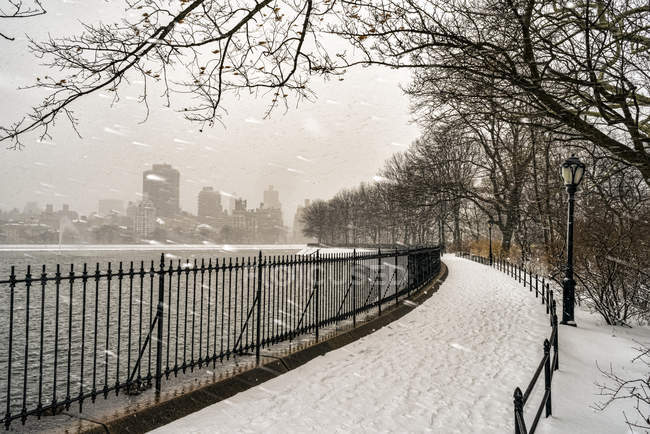 Queda de neve pela Jacqueline Kennedy Onassis Reservoir, Central Park; Manhattan, Nova Iorque, Estados Unidos da América — Fotografia de Stock