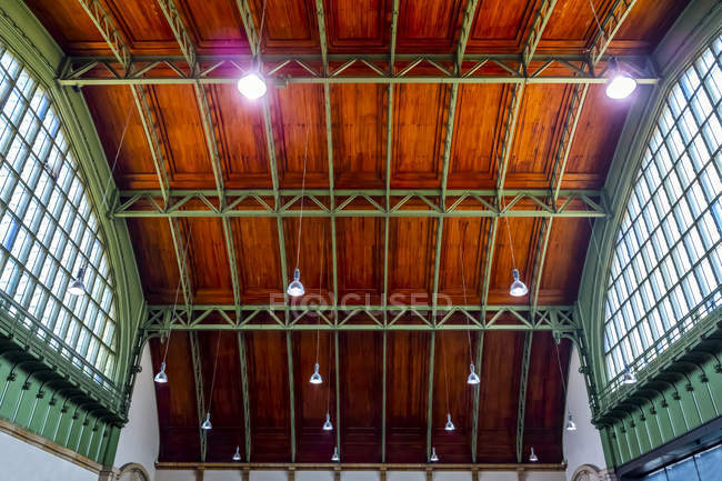 Architectural detail of ceiling in the Basel SBB railway station; Basel, Basel Stadt, Switzerland — Stock Photo