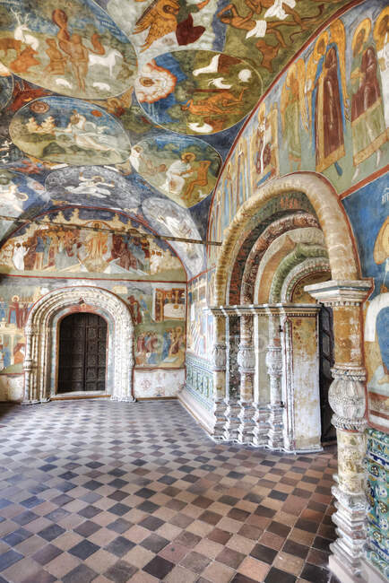 Scenic view of frescoes, St Johns Forerunners Parish; Athens, Greece - foto de stock