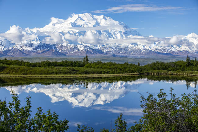 View of Denali and reflection in Reflection Pond taken from the park road while driving to Wonder Lake, Denali National Park and Preserve; Alaska, United States of America — Stock Photo