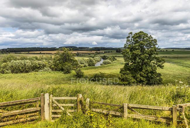 The River Till running through the fields near Crookham Village; Northumberland, England — Stock Photo