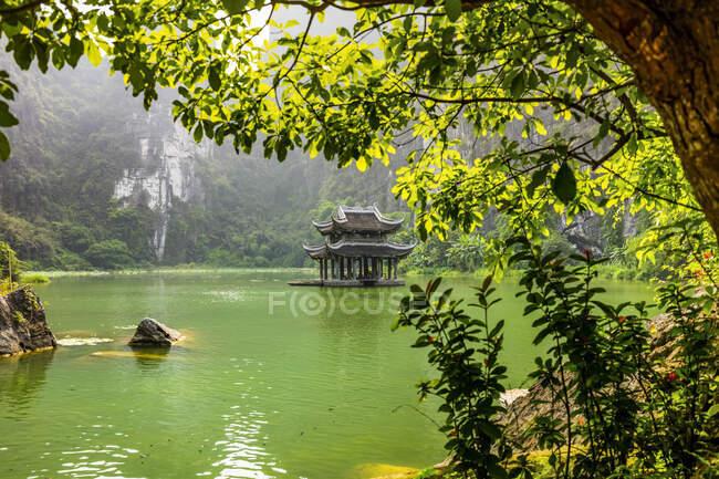Пышный ландшафт и традиционная азиатская структура посреди зеленого озера; Нинь Бинь Прованс, Вьетнам — стоковое фото