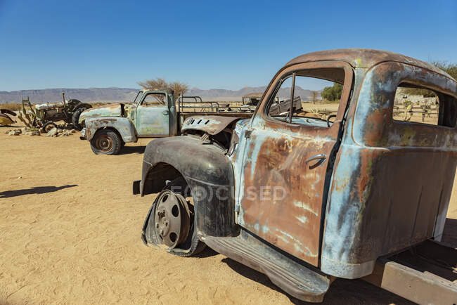 Old cars in Solitaire, Namib-Naukluft National Park; Namibia — Stock Photo