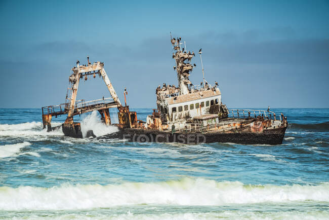Zeila de Hangana naufrágio, Skeleton Coast, Dorob National Park; Namíbia — Fotografia de Stock